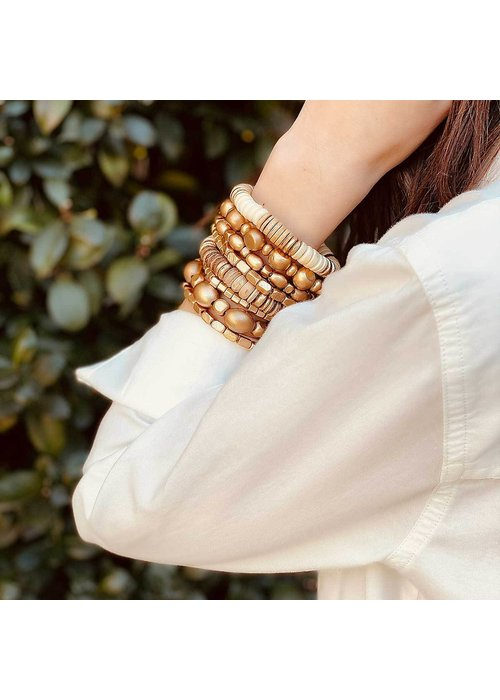 Presley Beaded Wood Stretch Bracelet in Champagne