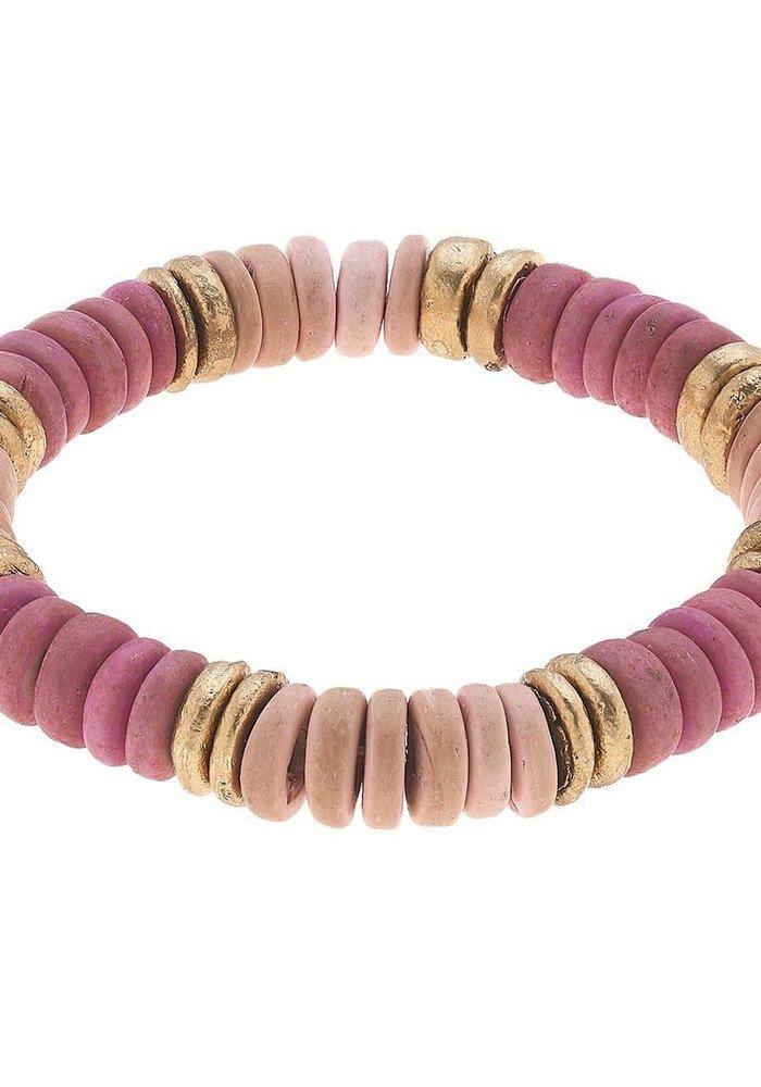 Presley Beaded Wood Stretch Bracelet in Blush Pink