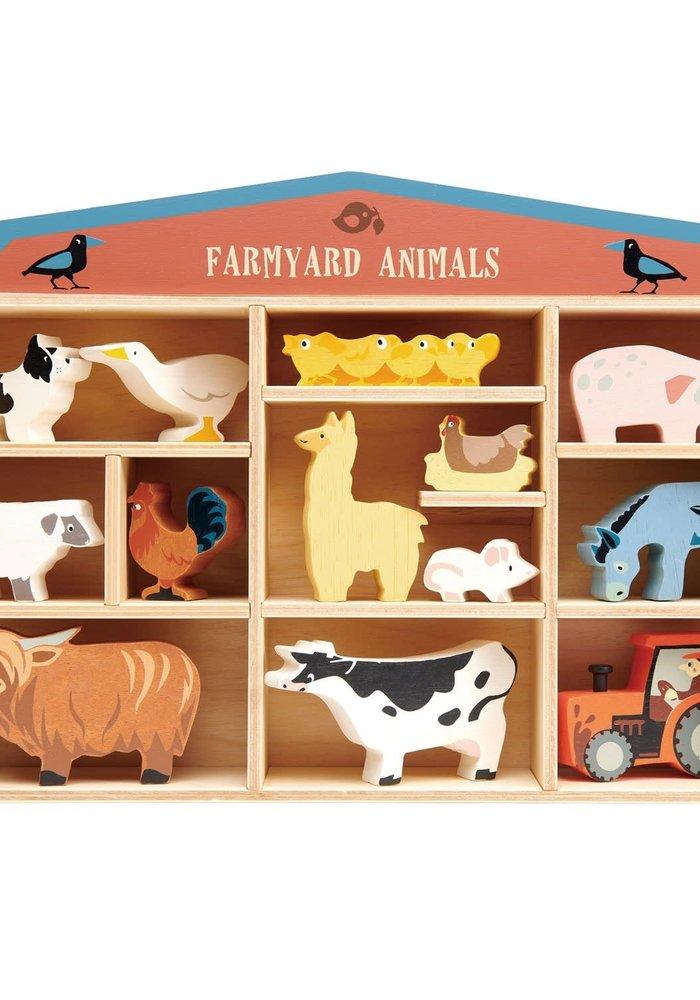 Wooden Farmyard Animals 14-Piece Set