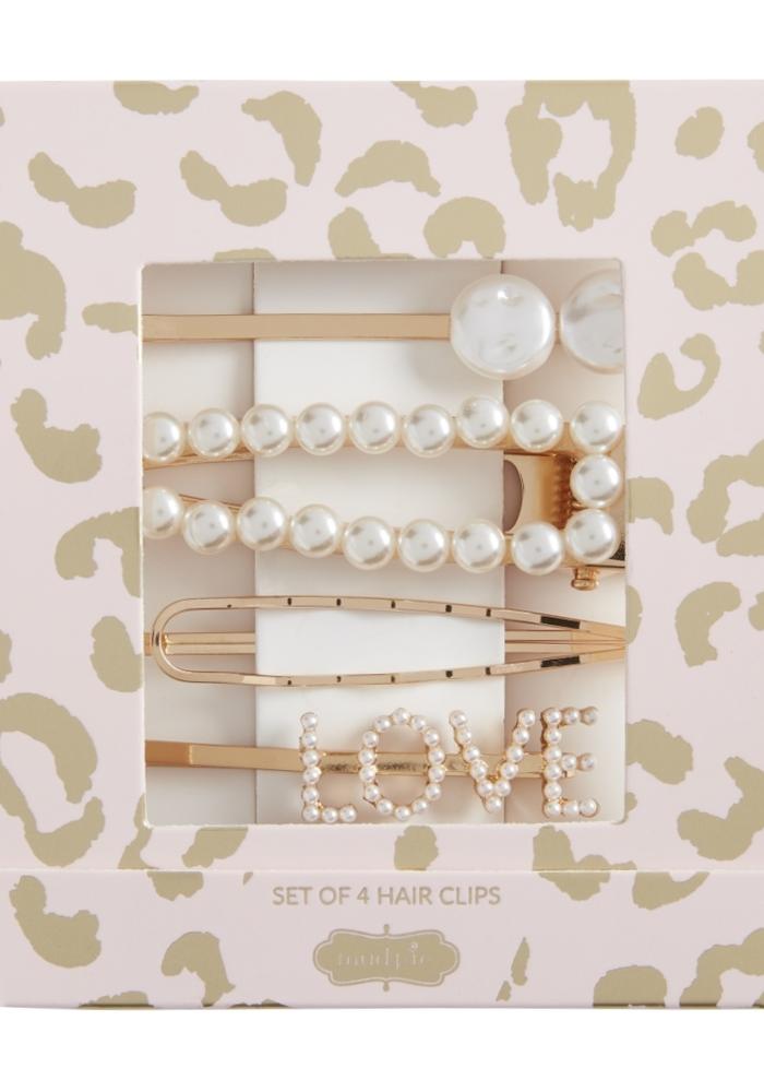 """""""Love"""" Pearl Hair Clip Set"""