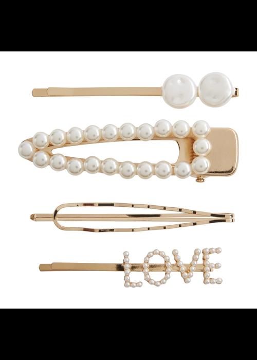 """Mudpie """"Love"""" Pearl Hair Clip Set"""