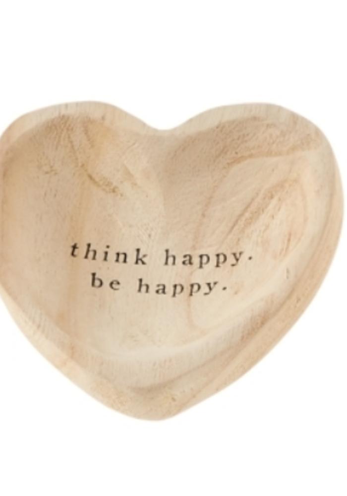 """""""Think Happy. Be Happy."""" Wood Heart Trinket Tray"""