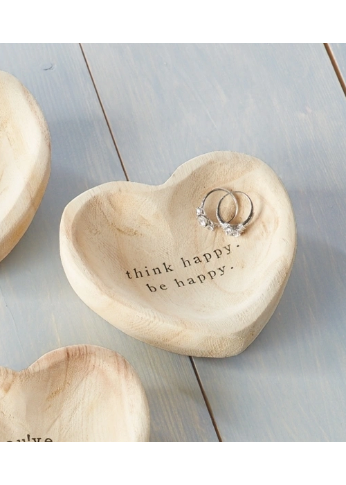 "Mudpie ""Think Happy. Be Happy."" Wood Heart Trinket Tray"