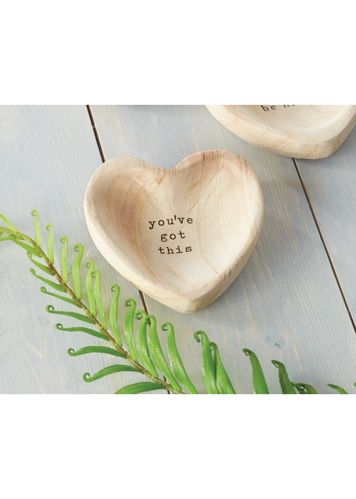 """Mudpie """"You've Got This"""" Wood Heart Trinket Tray"""
