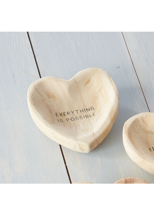 """Mudpie """"Everything Is Possible"""" Wood Heart Trinket Tray"""