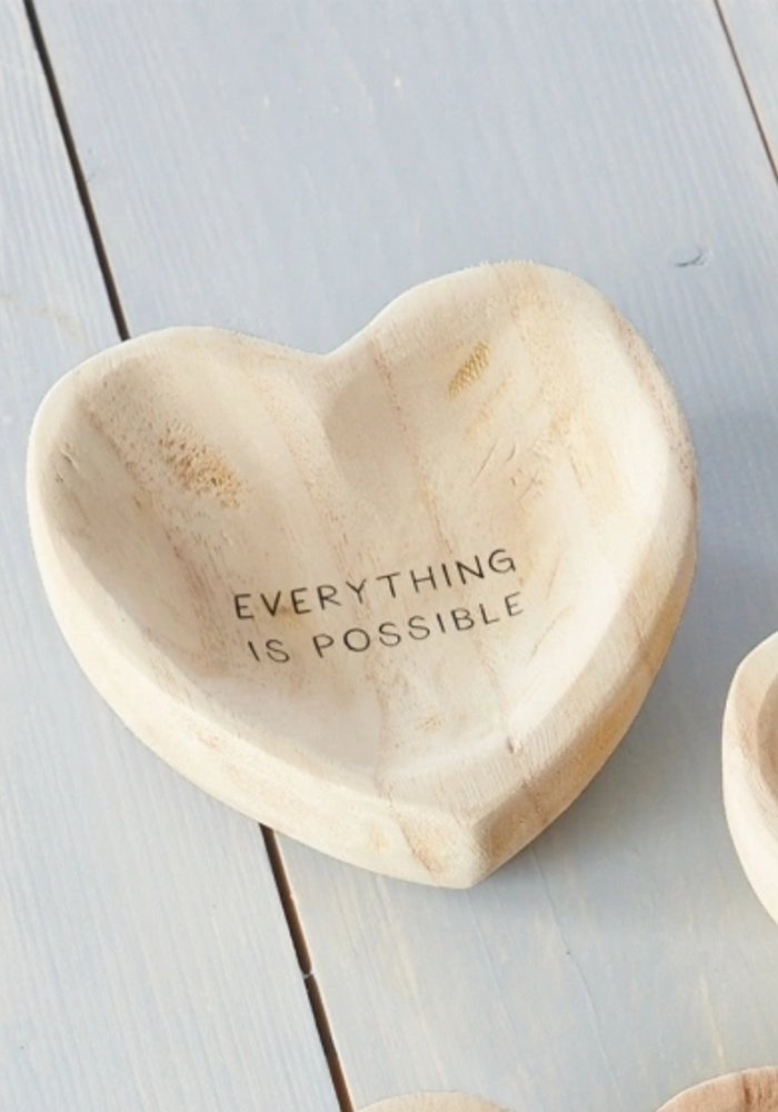 """""""Everything Is Possible"""" Wood Heart Trinket Tray"""