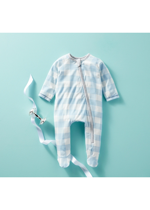 Mudpie Blue Gingham Knit Sleeper