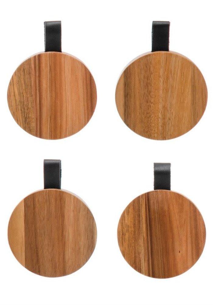 Acacia Wood & Leather Tab Coaster Set