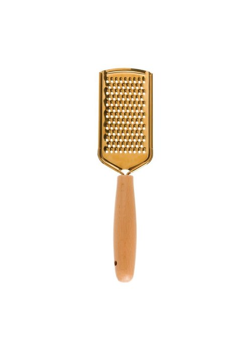 """8.5"""" Stainless Steel Gold & Wood Grater"""