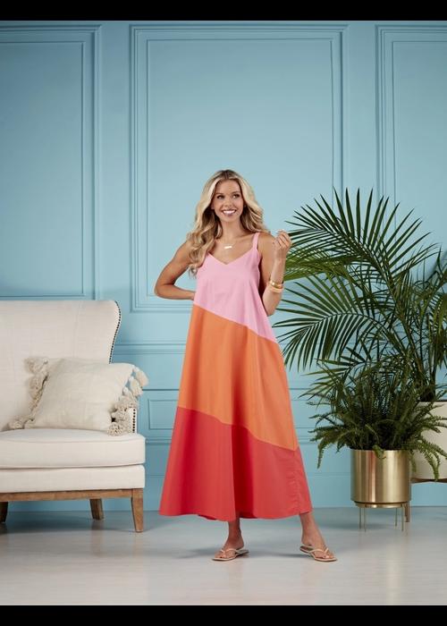 Mudpie Pink Color Block Mackenzie Maxi Dress
