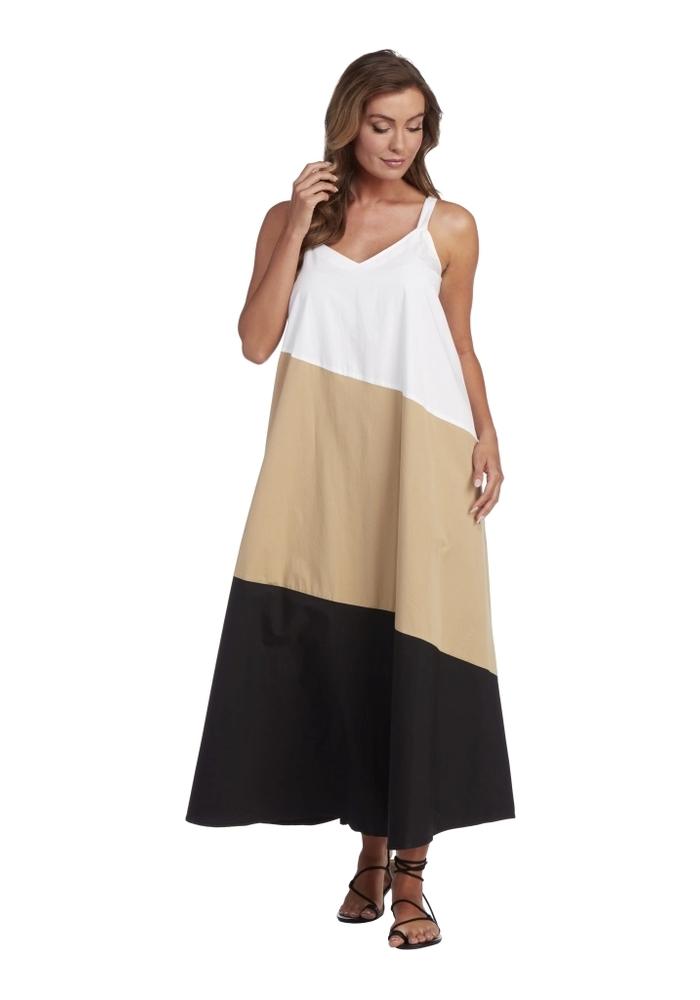Neutral Color Block Mackenzie Maxi Dress