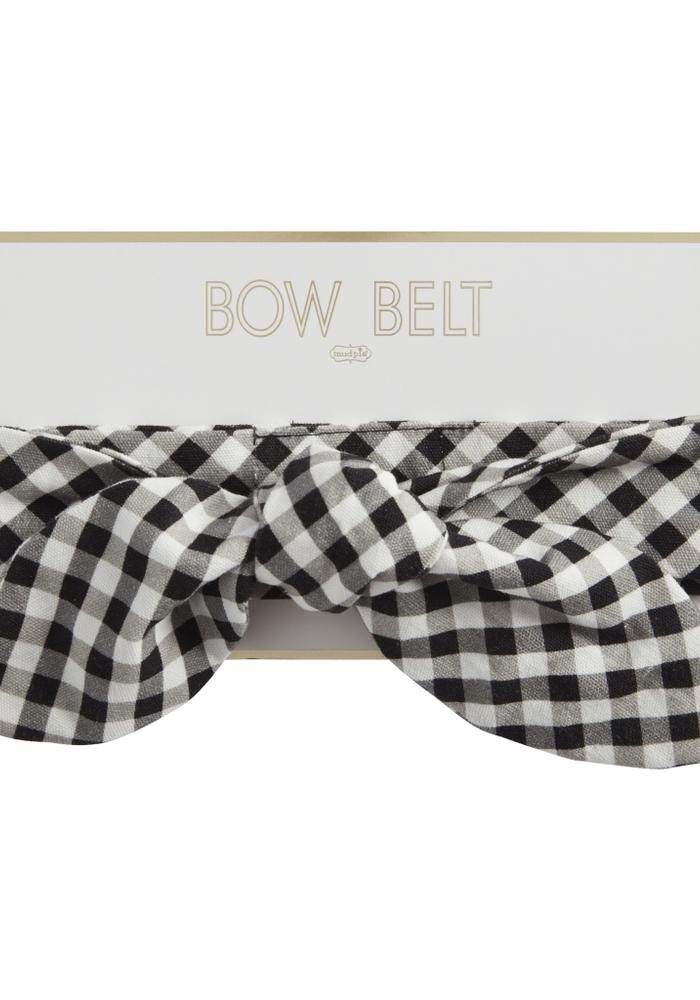 Black Plaid Woven Bow Belt