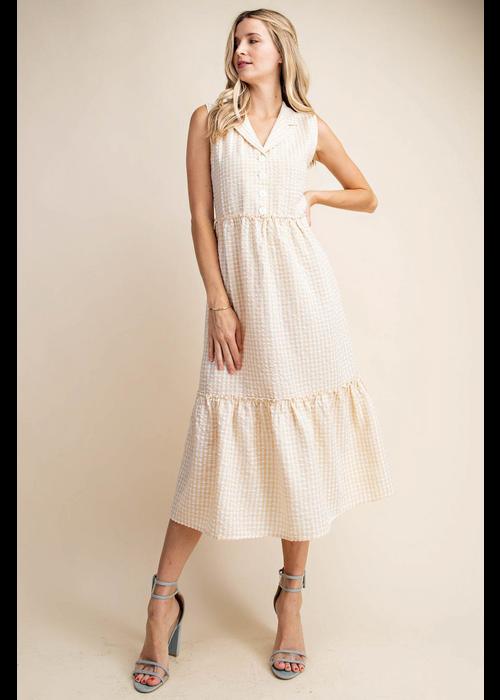 Volumed Gingham Check Babydoll Dress