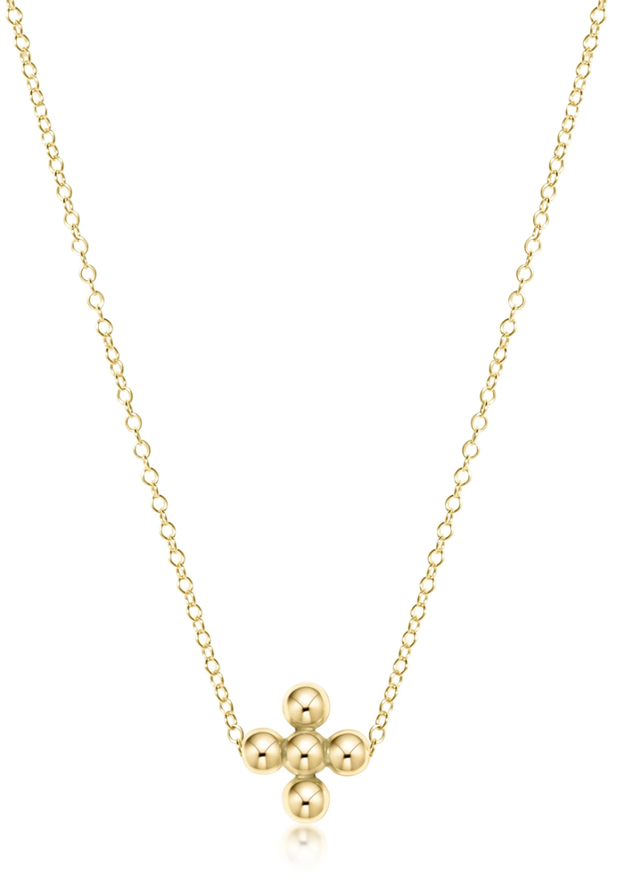 "16"" Classic Beaded Signature Cross Necklace"