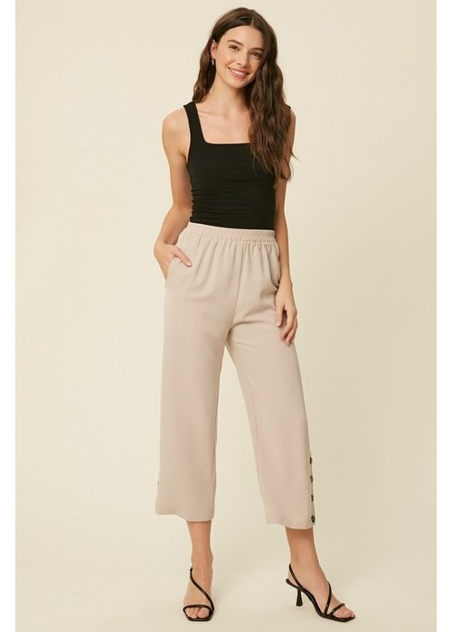 Button Down Side Seam Knit Culottes