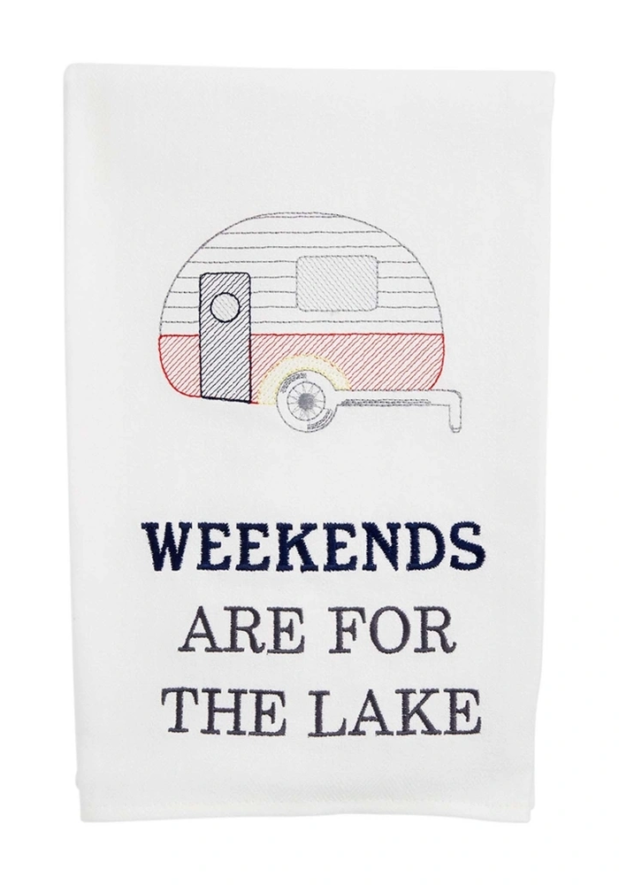 """""""Weekends Are For the Lake"""" Tea Towel"""