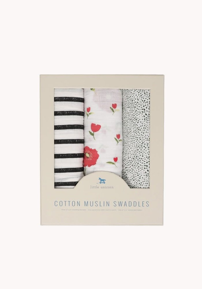 Summer Poppy Cotton Muslin Swaddle