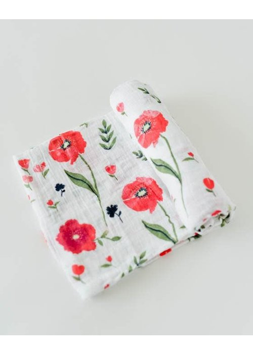 Summer Poppy Cotton Muslin Swaddle