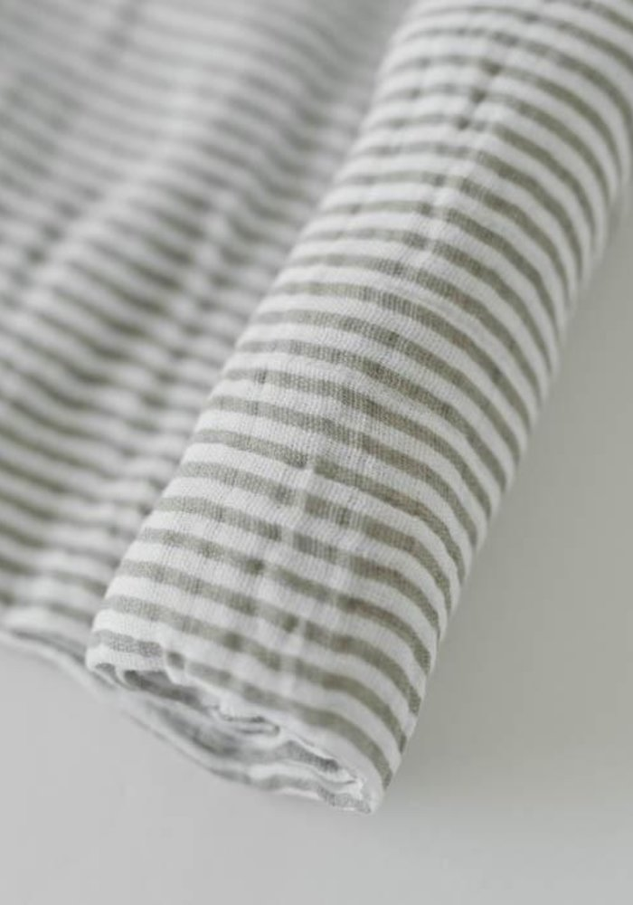 Grey Stripe Cotton Muslin Swaddle