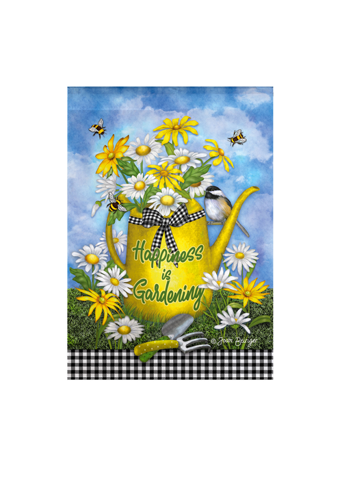 """Happiness is Gardening"" Watering Can Garden Flag"
