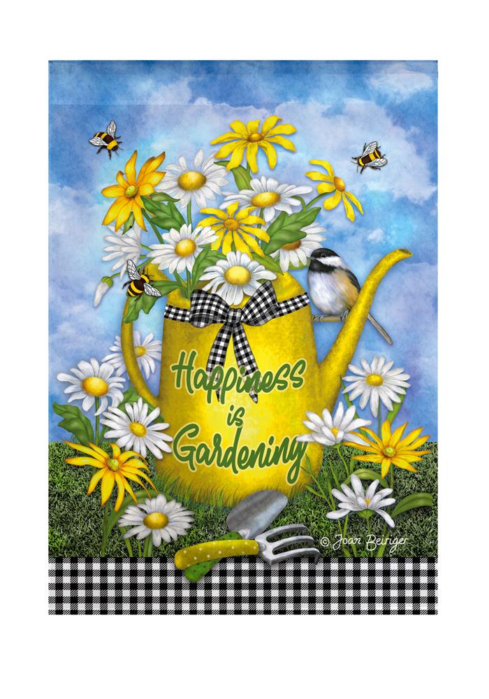 """Happiness is Gardening"" Watering Can Garden Flag"