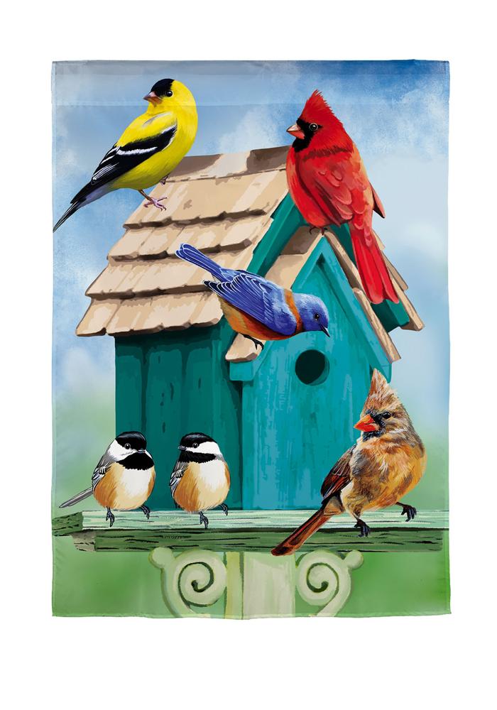 Birdhouse Gathering Garden Flag