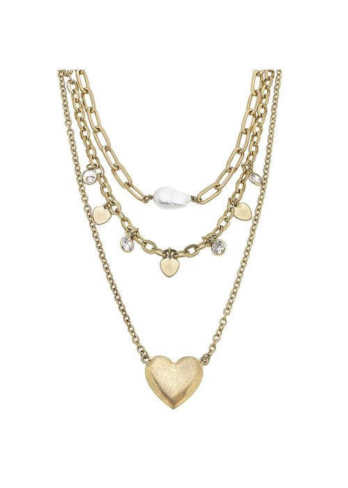 Blakely Layered Heart Necklace