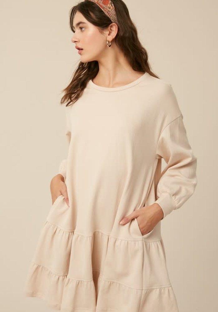 Jersey Tiered Ruffle Pocket Dress