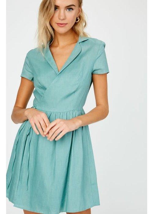Collared Linen Wrap Dress