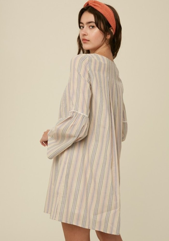 Multi Stripe V-Neck Bell Sleeve Dress