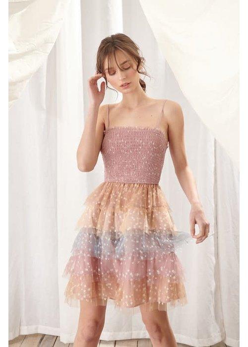 Glitter Star Smocked Tulle Dress