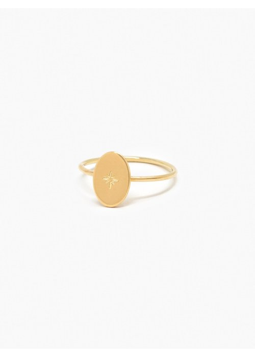 ABLE Dainty Starburst Oval Ring