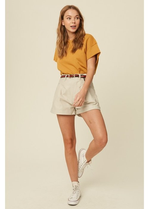 Pleated Rolled Hem Shorts