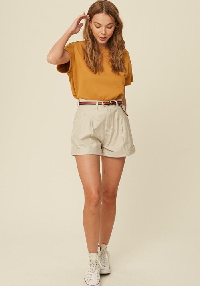 Pleated Rolled Hem Shorts