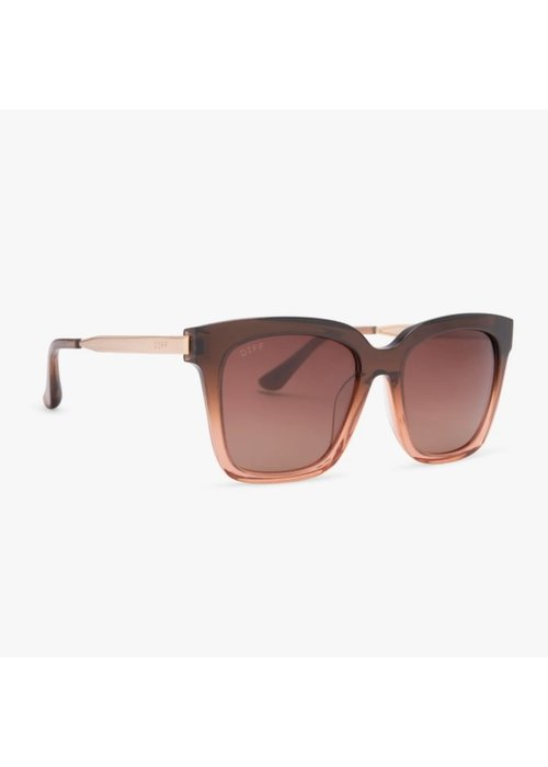 DIFF Eyewear DIFF Bella Taupe Ombre Crystal + Brown Gradient