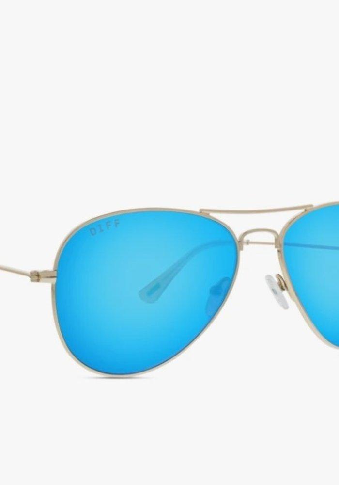 DIFF Cruz Gold + Blue Mirror