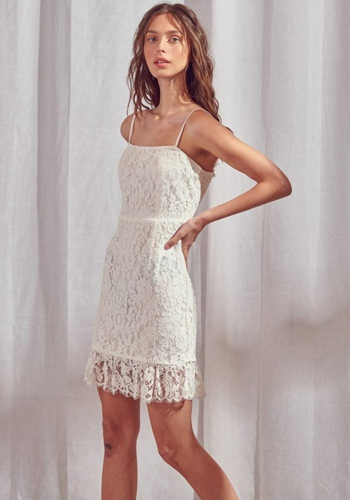 Strappy Lace Mini Dress