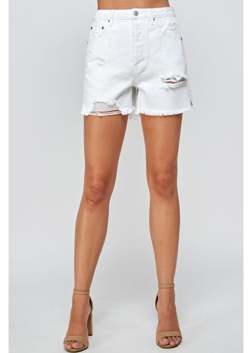 Destroyed White Jean Shorts
