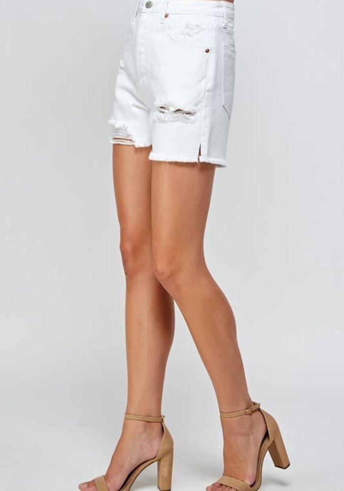 Distressed White Jean Shorts