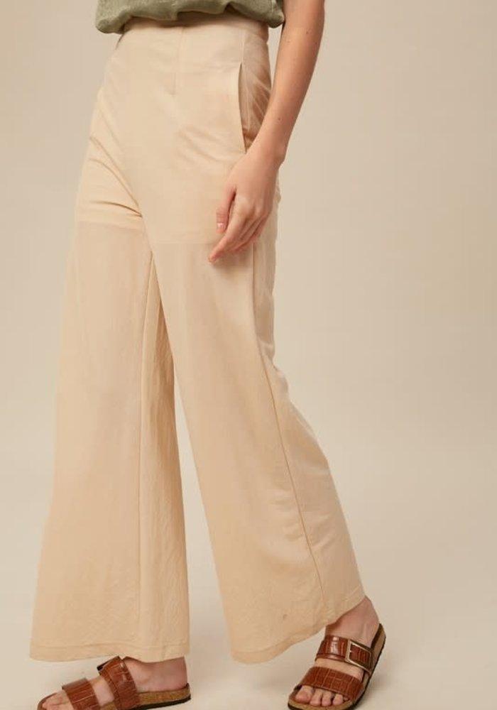 Champagne High Waisted Wide-Leg Pants