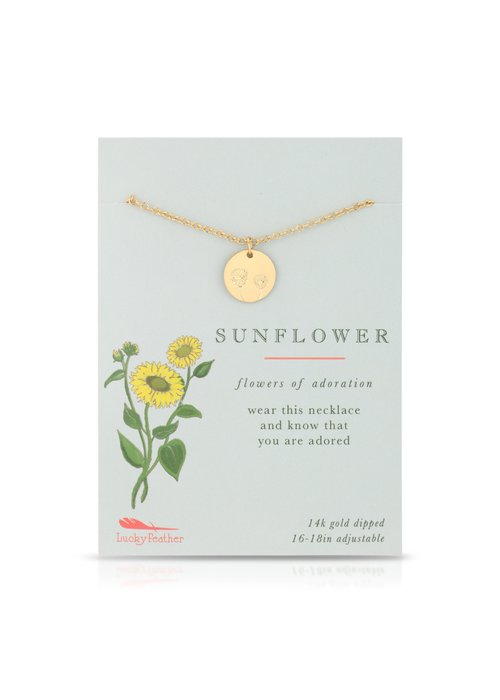 Lucky Feather Sunflower Botanical Necklace