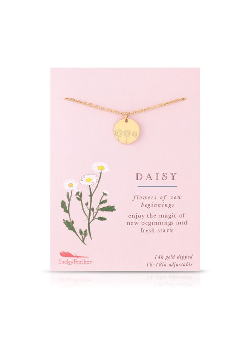 Lucky Feather Daisy Botanical Necklace