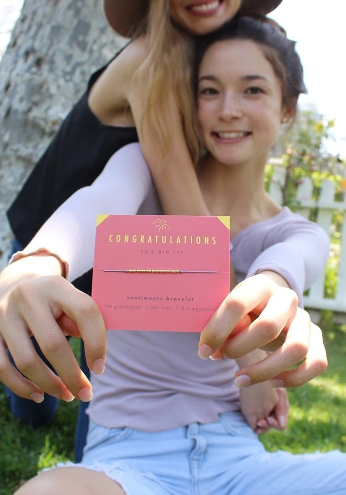 """""""Congratulations You Did It!"""" Gift Message Bracelet"""