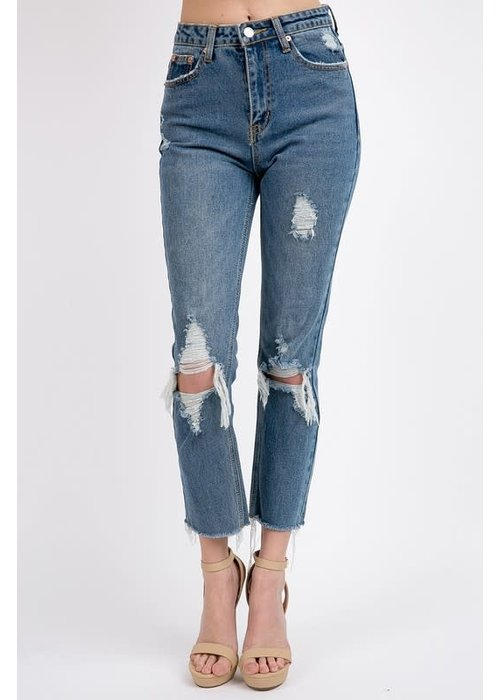 Destroyed High Rise Jeans