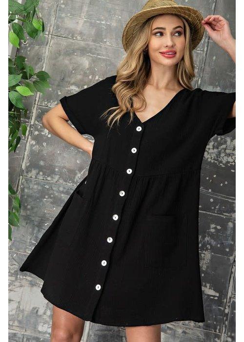 Black Front Button Pocket Dress
