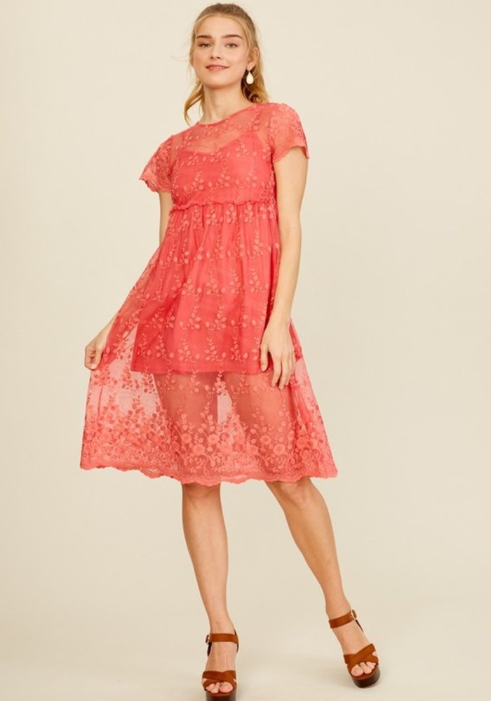 Rose Embroidered Lace Dress