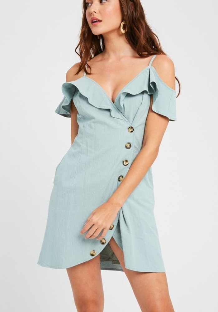 Sage Frill Wrap Dress