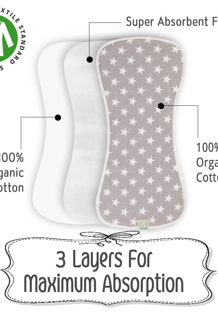 Grayscape 5-Pack Organic Baby Burp Cloths
