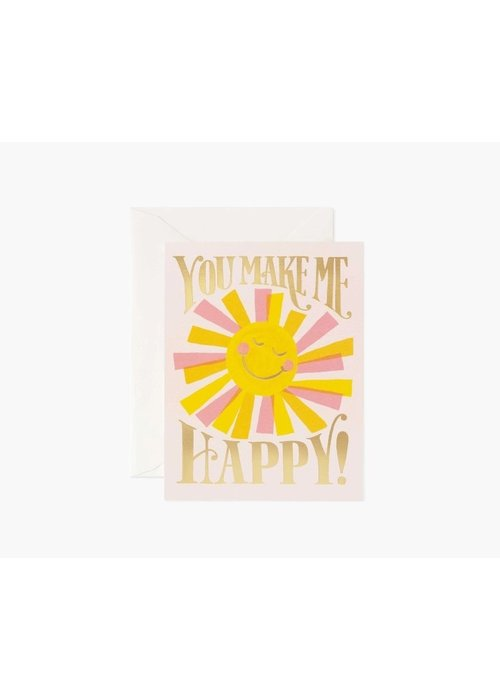 """Rifle Paper """"You Make Me Happy!"""" Gold Foil Card"""