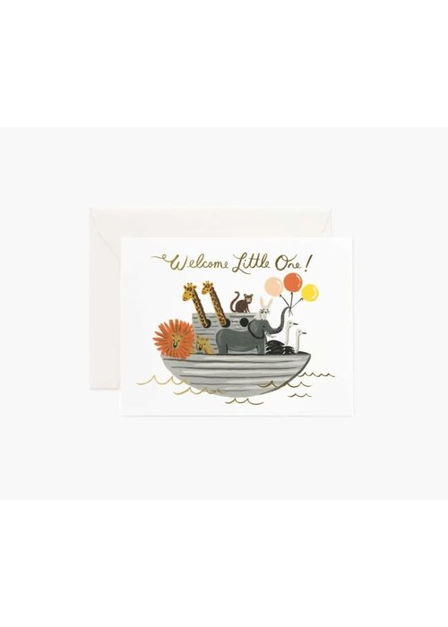 """Rifle Paper """"Welcome Little One"""" Ark Gold Foil Card"""